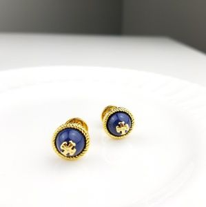 Tory Burch Logo Stud Earrings Blue $59